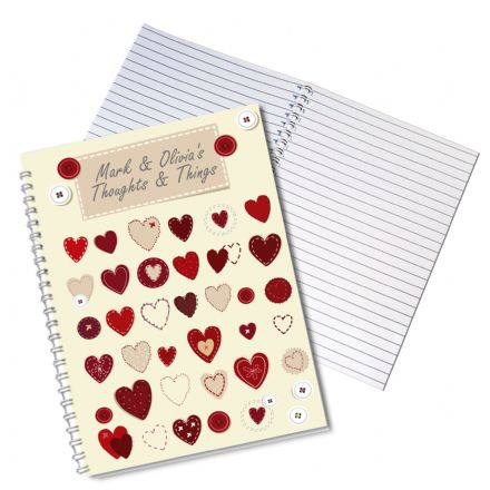 Personalised A5 Notebook - Fabric Hearts Design